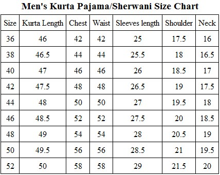 Image result for WSH-21 SHERWANI size chart